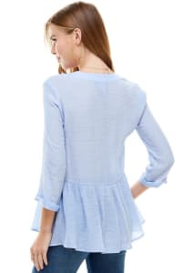 Gauze Button Front Tunic Top - Back
