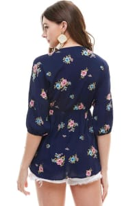 Small Floral Babydoll Top - Navy - Back