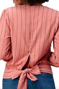 Button Detail Stripe Blouse - Back