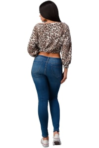 Leopard Cozy Knit Off The Shoulder Top - Brown - Back