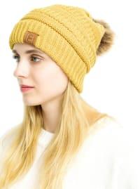 Popular CC Chic Pom Pom Beanie - Yellow - Back