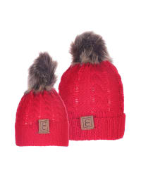 CC Chic MOM & ME Pom Beanies - Red - Back