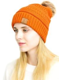 Popular CC Chic Pom Pom Beanie - Orange - Back
