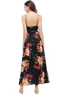 Big Floral V Neck Cami Strap Maxi Dress - Black - Back