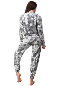 Tie Dye Star Sweatshirts & Jogger Set - Black - Back