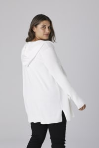 Westport Pocket Hoodie Open Cardigan - Vanilla Ice - Back
