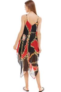 Scarf Printed Hanky Hem Midi Dress - Red / Black - Back