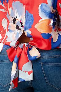 Big Floral Wrap Blouse - Back