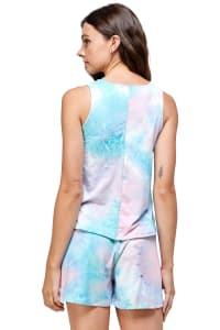 Sleeveless Top and Short Loungewear Set - Blue Multi - Back