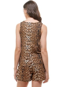 Animal Printed Sleeveless Top and Short Loungewear Set - Leopard - Back
