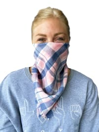 Billy T Bandanna - Pink and Blue Plaid - Back
