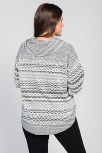 Plus Size Plush Cowl Neck Sweater - Black / White - Back