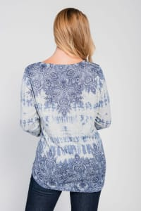Plus Size Blue Printed Long Sleeve Top - Back