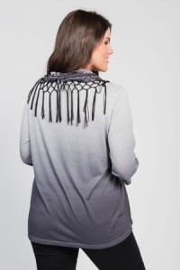 Ombre Print Knit Tee & Scarf Set - Plus - Back