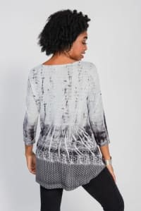 Placement Print Hi / Low with Bustle Back Knit Top - Grey Supreme Border - Back