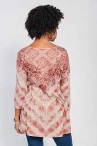 Placement Print Hi / Low with Bustle Back Knit Top - Rust Sublime Art - Back