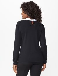 Roz & Ali Embellished 2Fer Sweater - Plus - Black - Back
