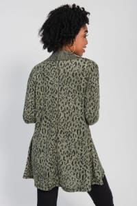 Leopard Cardigan with Reverse Collar - Olive / Black - Back