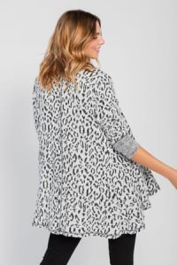 Leopard Cardigan with Reverse Collar - Black / White - Back