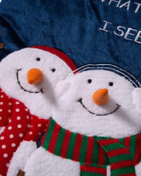 Velvet 3D Snowman Oversized Stocking - Black / Red / White - Back