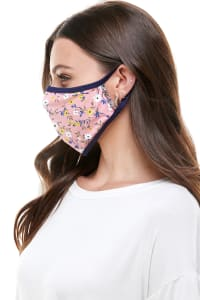 Double Layered Printed Cloth Fabric Reusable Face Masks - Pink Floral - Back