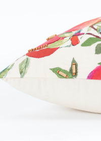 "Botanical Pomegranate 20""x20"" Multi Color Cotton Poly Filled Pillow - Red - Back"