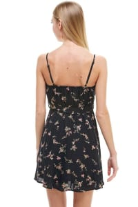Ditsy Floral Surplice Tie Waisted Dress - Black - Back