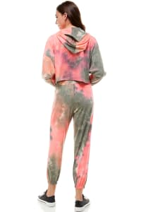 Tie Dye Hooded Sweatshirt And Jogger Set - Coral / Olive - Back