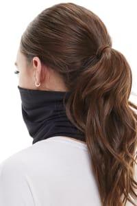 Double Layered Solid Neck Gaiter Bandana - Black - Back