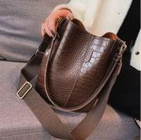 Blake Vegan Leather Shoulder Bag - Chocolate Crocodile - Back
