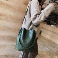 Blake Vegan Leather Shoulder Bag - Olive Crocodile - Back