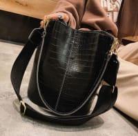 Blake Vegan Leather Shoulder Bag - Black Crocodile - Back