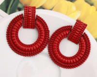 Petra Earrings - Red - Back
