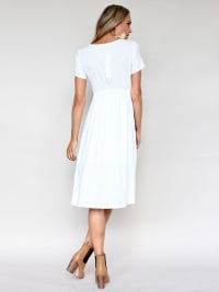 Buttoned V-Neck Dress With Pockets - White - Back