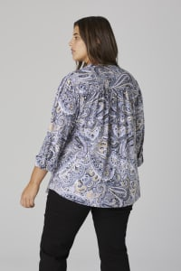 Roz & Ali Paisley Pintuck Popover - Plus - Denim/Taupe - Back