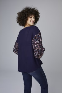Westport Mix Media Top - Misses - Navy - Back