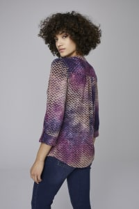 Roz & Ali Purple Tie Dye Jaquard Popover - Purple-Tan - Back