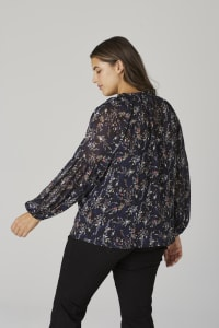 Westport Ditsy Ruffle Neck Blouse - Plus - Navy - Back