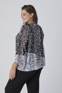 Westport Twin Print Bubble Hem Blouse - Plus - Black/White - Back