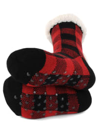 Buffalo Plaid Sherpa Lined Slipper Socks - Red/Black - Back
