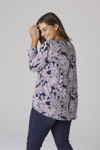 Westport Paisley Tie Front Knit Top - Plus - Navy Multi - Back