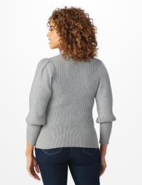 Roz & Ali Novelty Sleeve Stitch Interest Pullover Sweater - Heather Grey - Back