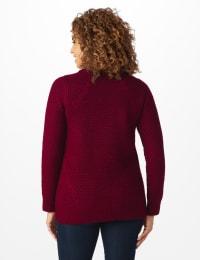 Westport Lurex Sharkbite Pullover Sweater - Velvet Red - Back