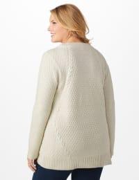 Westport Lurex Sharkbite Pullover Sweater - Plus - Very Vanilla - Back