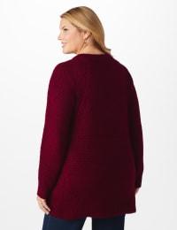 Westport Lurex Sharkbite Pullover Sweater - Plus - Velvet Red - Back