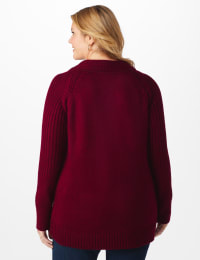 Westport Cable Detail Curved Hem Sweater - Plus - Velvet Red - Back