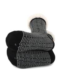 Stripe Sherpa Lined Slipper Socks - Black - Back