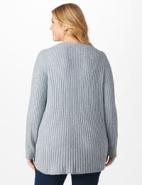 Westport Cable Stitch Sweater - Plus - Gray Heather - Back