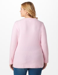 Westport Cable Stitch Sweater - Plus - Pink Cream - Back