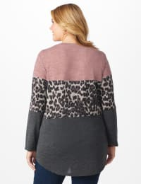 Westport Animal Mix Media Hacci Top - Plus - Dusty Pink - Back